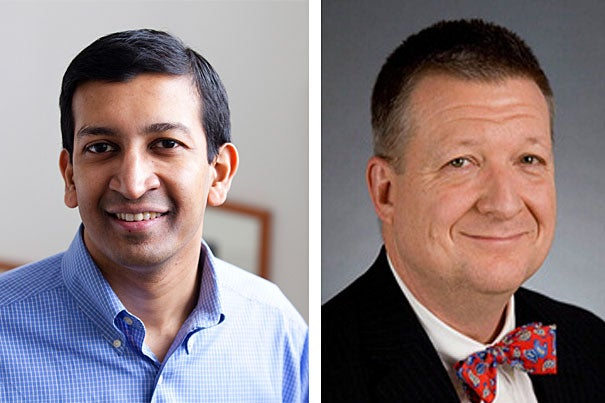 "Harvard Professor of Economics Raj Chetty (left) and Benjamin Warf, associate professor of surgery at Harvard Medical School and director of the Neonatal and Congenital Anomaly Neurosurgery Program at Children's Hospital Boston, have received 2012 MacArthur Foundation fellowships, more commonly known as ""genius grants."""