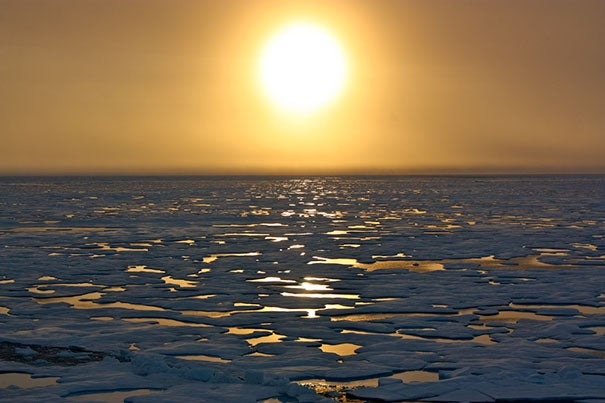 Sunset in the Arctic: A new study at Harvard explores the feasibility of using cautious and targeted solar geoengineering to counter the loss of Arctic sea ice.