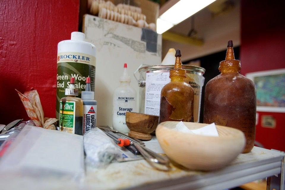 A variety of glues and other materials are used in the wood-turning studio. A variety of glues and other materials are used in the wood-turning studio.