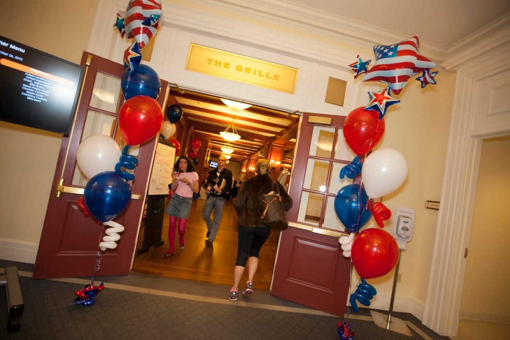 Harvard University Business School decorated the Spangler Grille for the election. Rose Lincoln/Harvard Staff Photographer