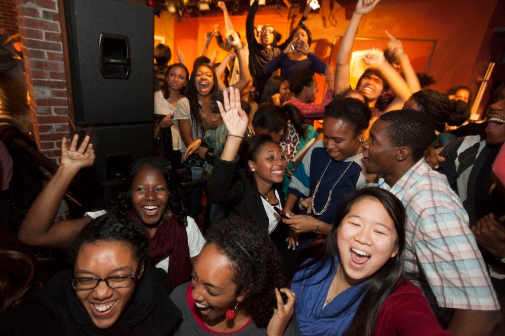 Harvard Black Students Association celebrate the presidential election inside the Queenshead Pub at Harvard University. Kris Snibbe/Harvard Staff Photographer