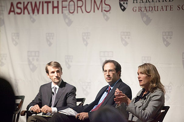 "Looking ahead, Celine Coggins (far right), founder and CEO of Teach Plus, said she envisions the president continuing to promote a national model that supports teaching as a performance-driven profession, one that ""puts the interests of the students first"" and moves away from a system traditionally linked to seniority. Panelists Martin West (far left) and Jal Mehta, both assistant professors of education at Harvard, examined the complexities of programs and the attitude of voters."