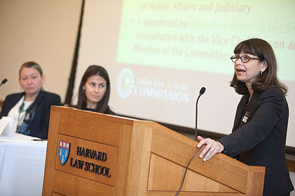 """Federal-tribal criminal justice is """"a complex maze"""" of multiple systems, """"created piecemeal over time,"""" """"imposed,"""" and """"alien to locals,"""" said Carole Goldberg (right), the 2006 Oneida Indian Nation Visiting Professor at Harvard. """"Major restructuring"""" needs to happen. Justice, she said, should be culturally appropriate and include intergovernmental cooperation, respect, and trust."""