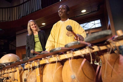Famed Malian balafonist Neba Solo is the subject of a book-in-progress by Quincy Jones Professor of African-American Music Ingrid Monson (left). The two gave a presentation on Monday at the Radcliffe Institute.
