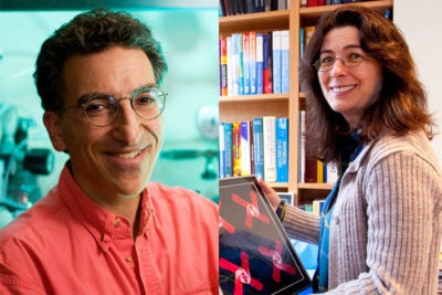 Harvard Professors Michael J. Aziz (left) and Joanna Aizenberg are heading up two teams that have been recognized with grants by the Department of Energy's Advanced Research Projects Agency – Energy. The funding will enable the teams to continue to develop innovative energy technology.