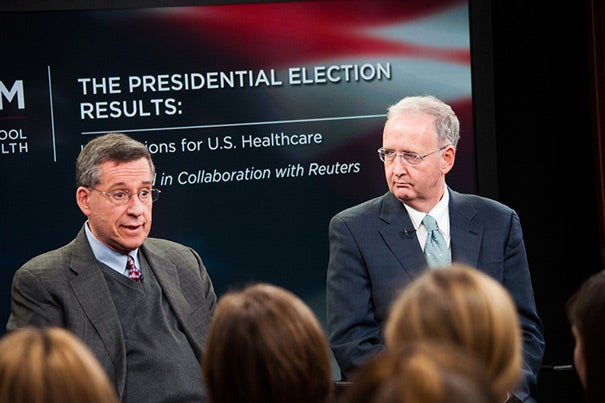 "Although some parts of the Affordable Care Act are already active, Professor of Health Policy and Political Analysis Robert Blendon (left) believes implementation will be uneven from state to state. ""The important thing is the law moves forward and survives,"" said John McDonough (right), director of HSPH's Center for Public Health Leadership."