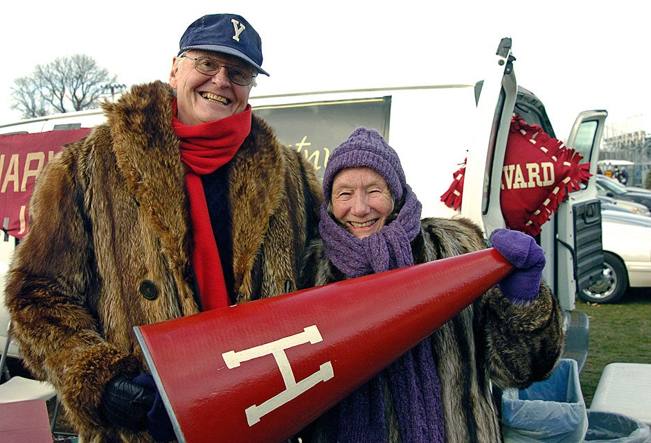 At Harvard Stadium in 2008, Bob (whose allegiance is to Yale, not Harvard) and Carolyn Cumings of Winchester, Mass., celebrate the 56th anniversary of their first blind date at a Harvard-Yale game. They have been together ever since.