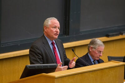 "Republican Bill Kristol (left), the editor and publisher of The Weekly Standard and a Fox News Channel commentator, saw reasons why his party should take heart even though Romney lost despite hundreds of millions of dollars in super PAC spending.  ""Incumbents usually win. Obama won, but by a narrower margin than in 2008,"" he pointed out."
