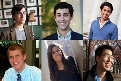 Six Harvard students are among the 32 American men and women chosen as Rhodes Scholars. They include (top row, from left) Aidan C. de B. Daly, Julian B. Gewirtz, Allan J. Hsiao, (second row, from left) Benjamin B.H. Wilcox, Nina M. Yancy, and and Phillip Z. Yao, all members of the Class of 2013.