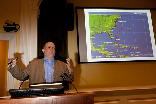 "Professor Daniel P. Schrag told his Radcliffe audience that warm water played a big part in Sandy's track, noting that the cool mid-Atlantic water typically would have sapped the hurricane's energy. But water warmed by 4 degrees Fahrenheit gave it energy. Schrag's lecture, ""Wetter Weather: Water on a Changing Planet,"" was the latest in the ongoing Water Lecture Series at Radcliffe."
