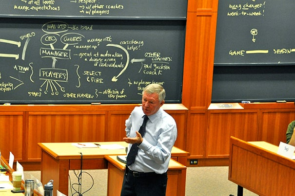 Sir Alex Ferguson, the manager of Manchester United and the topic of a recent Harvard Business School case by HBS Professor Anita Elberse, engaged with students in Aldrich Hall earlier this fall.