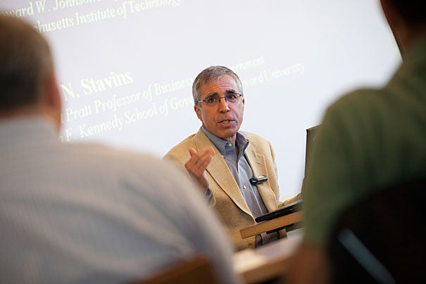 """""""My view is that the best thing that Harvard can do [to combat climate change] is to carry out first-rate research, combined with the best possible teaching, and effective outreach to the public sector and the private sector. That's our comparative advantage,"""" said Robert Stavins, Albert Pratt Professor of Business and Government at Harvard Kennedy School."""