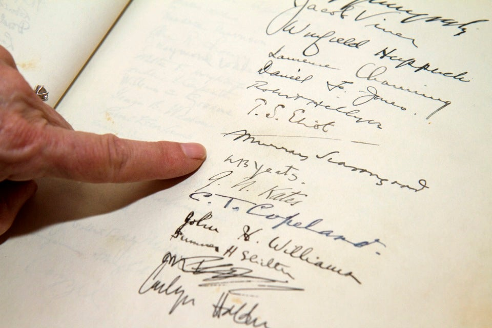 image The Leverett House guest book shows the The Leverett House guest book shows the signatures of many historical figures over the years, including William Butler Yeats and T.S. Eliot.