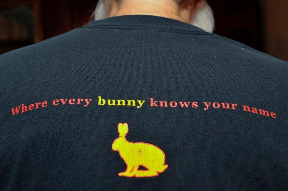 Georgi wears a bit of Leverett humor on his shirt.