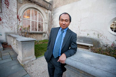 "Francis Fukuyama, who in 1992 famously predicted ""the end of history"" because liberal democracies and free market economies suggested an endpoint in the evolution of government, spoke at the Minda de Gunzburg Center for European Studies in a kickoff session for a two-day workshop focused on European national identities."