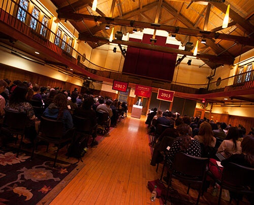 Charles Warren Professor of American History James Kloppenberg addressed the 114 students who were being recognized at the 2012-13 Midyear Graduates Recognition Ceremony in the Radcliffe Gymnasium.