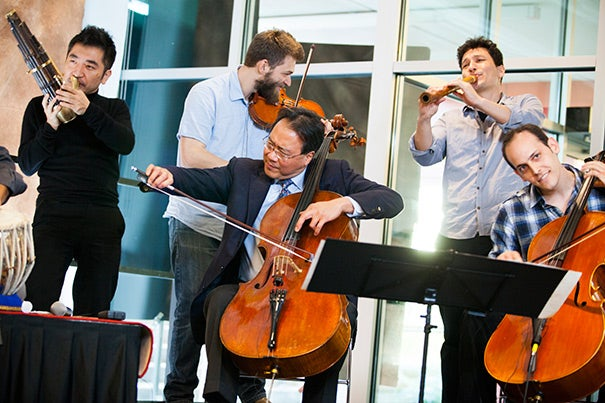 Yo-Yo Ma and his Silk Road Project were there to help kick off the Deans' Cultural Entrepreneurship Challenge, an initiative aimed at supporting the arts by connecting the worlds of art and business, Harvard's student body, and the wider Harvard community.