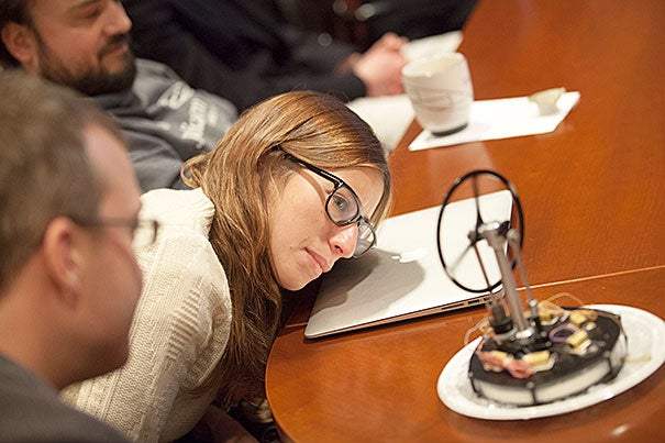 "Elizabeth Kane looks at a Stirling heat engine model that eliminates the standard piston system. The presentation was part of the ""Physics and Applied Physics Research Freshman Seminar."" The seminar challenged students to study and improve upon the Stirling heat engine constructed by last year's seminar students."