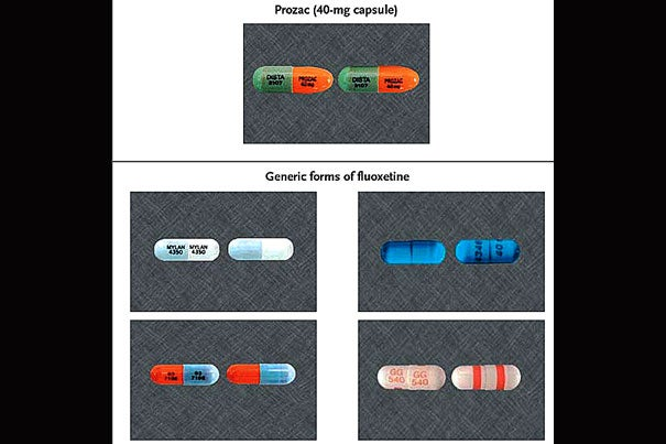 Changes in the appearance of drugs may cause patients to stop taking them. Pictured (at top) is Prozac (fluoxetine) as it appears when manufactured by Lilly. Below it are four generic versions of fluoxetine. Based on research, the color of the medication seems to have the greatest impact on patient usage.