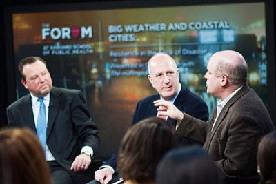 """I promise there will be surprises. No matter how well we prepare, there will be system failures,"" said Daniel Schrag (far right), director of the Harvard University Center for the Environment. Paul Biddinger (left) and Jerold Kayden were among the other panelists for the forum on ""Big Weather and Coastal Cities"" at the Harvard School of Public Health."