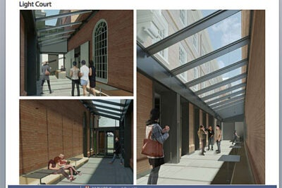 Within Leverett's McKinlock Hall, an existing alley will receive a new glass roof and become a light court, which will connect new lounge and seminar rooms with the dining hall, helping to alleviate crowding.