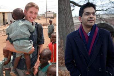 "Alex Palmer '12 (left) and Aditya Balasubramanian '13 are among the 34 Marshall Scholars chosen nationwide. ""My time at Harvard transformed a personal interest into my academic focus,"" said Balasubramanian, who will attend the London School of Economics and Political Science. Palmer plans to pursue a master's degree in conflict, security, and development at King's College London and a master of letters degree in Middle Eastern and Central Asian security studies at the University of St. Andrews."