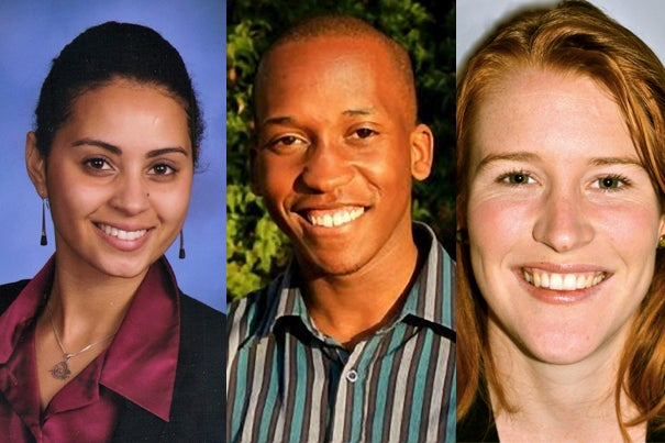 The recipients of this year's international Rhodes Scholarships are Naseemah Mohamed '12 (from left), Dalumuzi Mhlanga '13, and Madeleine Ballard '11. They will join the six American Harvard students who will head to the University of Oxford next fall.