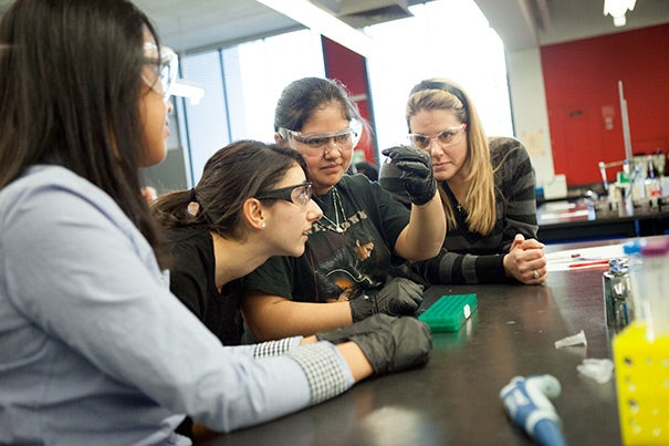 Chelsea High School students Neris Yanes (left) and Karina Perez (second from right) work with research assistant Alia Qatarneh and Chelsea High teacher Melissa Puopolo (right) on a lab exercise involving RFP-expressing bacteria.