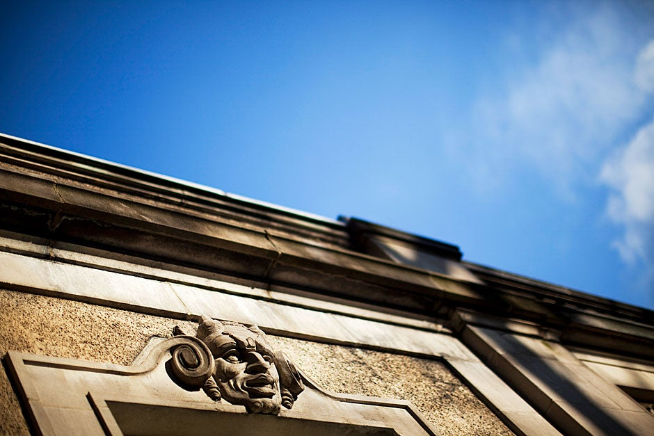 Detail of the ornate carving characteristic of Busch Hall. The building was completed in 1917 but not opened until 1921 because of a lack of coal. Stephanie Mitchell/Harvard Staff Photographer