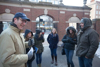Blair Kamin (left) and Finbarr O'Reilly (right) were among Nieman Fellows leading a January Arts Intensive on Harvard Yard's 26 gates. Part of it, as here, involved documenting gate traffic.