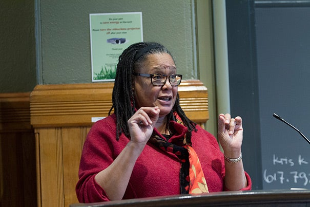 """""""All humans have differences. Why is it so hard to leave it at that? Why can't that answer be the definitive end one about our differences?"""" wondered Harvard College Dean Evelynn M. Hammonds at a Sever Hall book talk on Friday."""