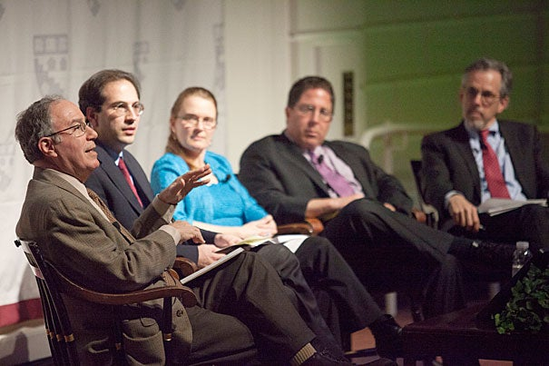 Harvard Graduate School of Education hosted a panel of leading thinkers who shared their five visions on the future of education. The panel included Robert Schwartz (from left), Jal Mehta, Elizabeth City, Frederick Hess, and Paul Reville.