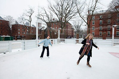 Sol Kim-Bentley (left), a faculty assistant in the in the Department of English, and Miriam Leigh, an administrative coordinator for the Department of Visual and Environmental Studies, gave the skating rink a whirl. Harvard Skate is located at the Science Center plaza.