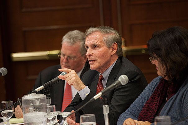 Ray Chambers, the U.N. Secretary-General's Special Envoy for Malaria, updated a packed room during the Harvard Malaria Forum on progress against the disease.