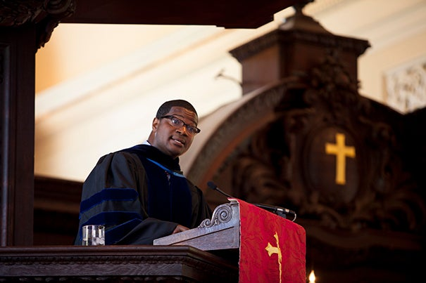 Jonathan L. Walton, Plummer Professor of Christian Morals and Pusey Minister at Harvard's Memorial Church, is pictured here at a Sunday service in September.