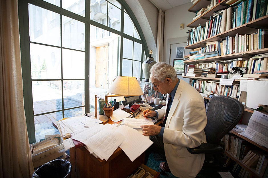 Goelet Professor of French History Patrice Higonnet has arguably one of the best offices at Harvard. His extra-long space opens to the street on one side and to the courtyard on the other. After 58 years at Harvard and 15 years in this space, he's not complaining. Well, maybe just a little: In the winter he needs Ugg boots and a space heater to protect his feet from the drafts. Rose Lincoln/Harvard Staff Photographer