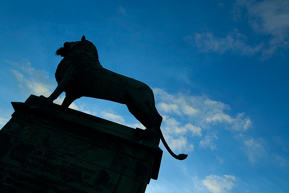 "The silhouetted king stands against a clear sky. ""The heralistic rigidity and archaic fierceness of the animal make it peculiarly well fitted to serve here as a kind of architectural house dog guarding treasures of the past,"" wrote Kuno Francke, first curator of the Germanic Museum and professor of the history of German culture. Rose Lincoln/Harvard Staff Photographer"