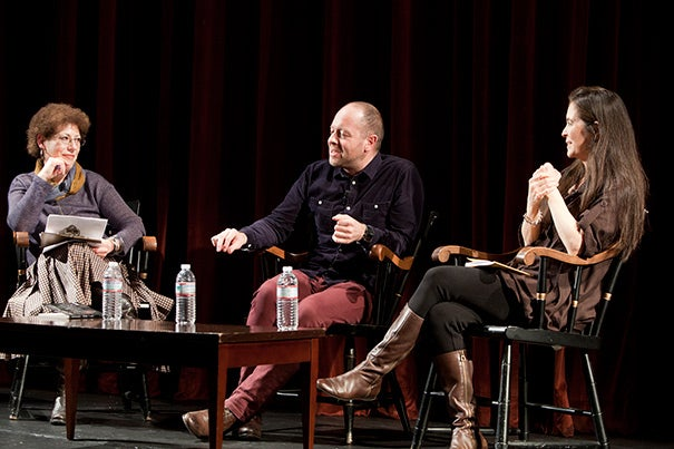 "Theater director John Tiffany (center) joined American Repertory Theater Artistic Director Diane Paulus (right) and Radcliffe Institute Dean Lizabeth Cohen for a discussion on the upcoming, reinvented production of Tennessee Williams' ""The Glass Menagerie."""