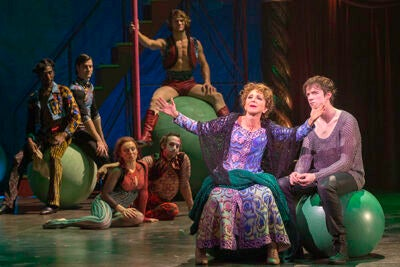 "Actors Andrea Martin (left) and Matthew James Thomas rehearse for the American Repertory Theater's smash production of ""Pippin."""