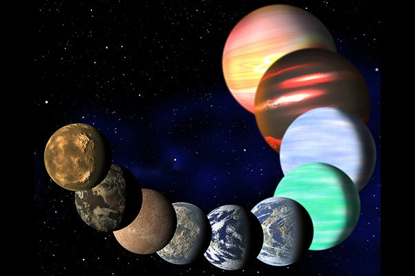 This artist's illustration represents the variety of planets being detected by NASA's Kepler spacecraft. A new analysis has determined the frequencies of planets of all sizes, from Earth's up to gas giants. Key findings include the fact that one in six stars hosts an Earth-sized planet in an orbit of 85 days or less, and that almost all sunlike stars have a planetary system of some sort.
