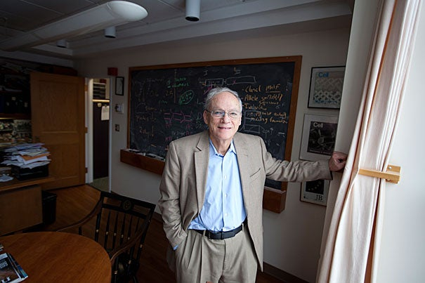 """""""Richard Losick [pictured] has been a leader for excellence in teaching for decades,"""" said Dean Michael D. Smith of the Faculty of Arts and Sciences. """"He recognizes the importance of inspiring the leaders of tomorrow. I hope our colleagues throughout the faculty will join me in congratulating Rich on this award and his legacy of excellence, both in the classroom and in the lab."""""""