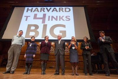 Six professors and one student presented seven big ideas in the annual Harvard Thinks Big. This year's participants included Joseph Blitzstein (left to right), Doris Sommer, Katie Hinde, Roberto Mangabeira Unger, Emma Dench, Annie Ryu '13, and Michael Puett.