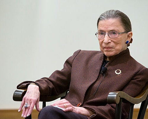 Legal scholar and tireless defender of equal rights Ruth Bader Ginsburg reflected on her career during a discussion with Harvard Law School Dean Martha Minow on Monday before a packed room in Wasserstein Hall.