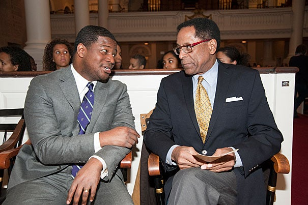 """[Martin Luther King Jr.] was always committed to interfaith dialogue, toward the cause of building coalitions toward truth and justice for all of God's people,"" said the Rev. Jonathan L. Walton (left). S. Allen Counter (right), director of the Harvard Foundation, said the event ""was an opportunity to teach the younger community about the Civil Rights Movement, and what whites, blacks, and Latinos accomplished together."""