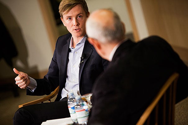 """""""I believe in the power of great writing to shape how we see the world,"""" Chris Hughes '06 said in a conversation at Harvard Kennedy School sponsored by the Joan Shorenstein Center on the Press, Politics, and Public Policy. """"That sounds incredibly idealistic, and it is lofty, but I'm not ashamed of it."""""""
