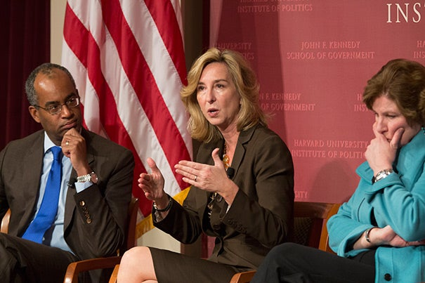 """""""If you consider yourself a conservative, we think you're a conservative,"""" said Kerry Healey (center), a former Massachusetts lieutenant governor. The party likewise needs to find a way to welcome moderate Washington officeholders, whose ranks are diminishing to the point of extinction with recent departures from Congress, she added. Joining Healey were Ron Christie (left) and Karen Hughes."""