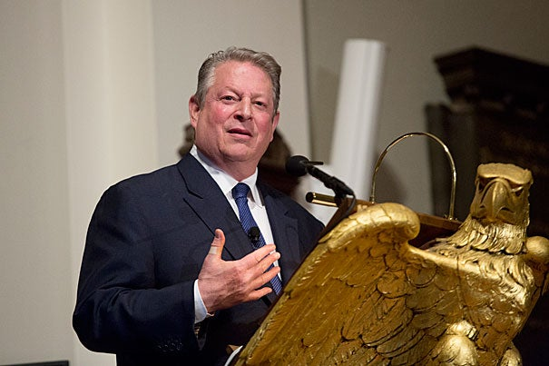 """We're using the atmosphere as an open sewer. It's functionally insane. It traps heat,"" Al Gore told a packed Memorial Church. ""A lot of communities experience one in 100-year events, one in 1,000-year events … every few years."""