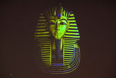The golden burial mask of King Tut, which is in the Egyptian Museum.