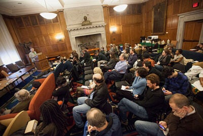 "Harvard graduate students discussed issues of appropriation and collaboration during  the ""Africa Remix: Producing and Presenting African Musics Abroad"" conference. Due to Friday's blizzard, the daylong conference was cut short, but still drew an impressive crowd to the Barker Center."
