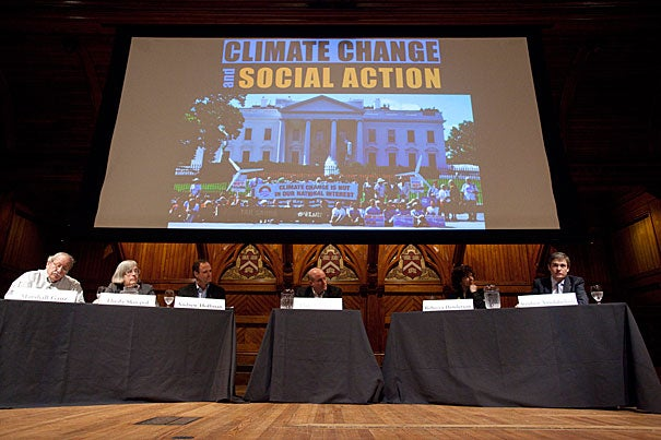 Harvard University Center for the Environment symposium on social action and climate change, at Sanders Theater. Marshall Ganz, Theda Skocpol, Andrew Hoffman, Dan Schrag,  Rebecca Henderson, and Stephen Ansolabehere. Jon Chase/Harvard Staff Photographer
